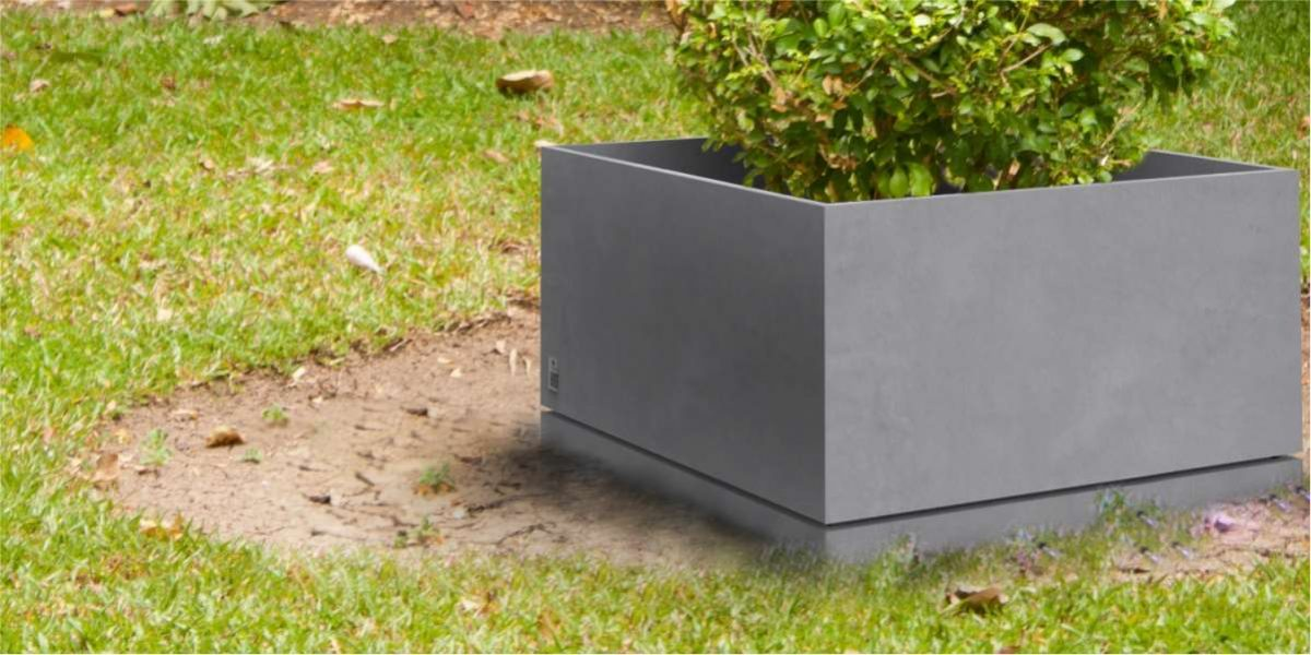 Regular Planter with saucer concrete natural