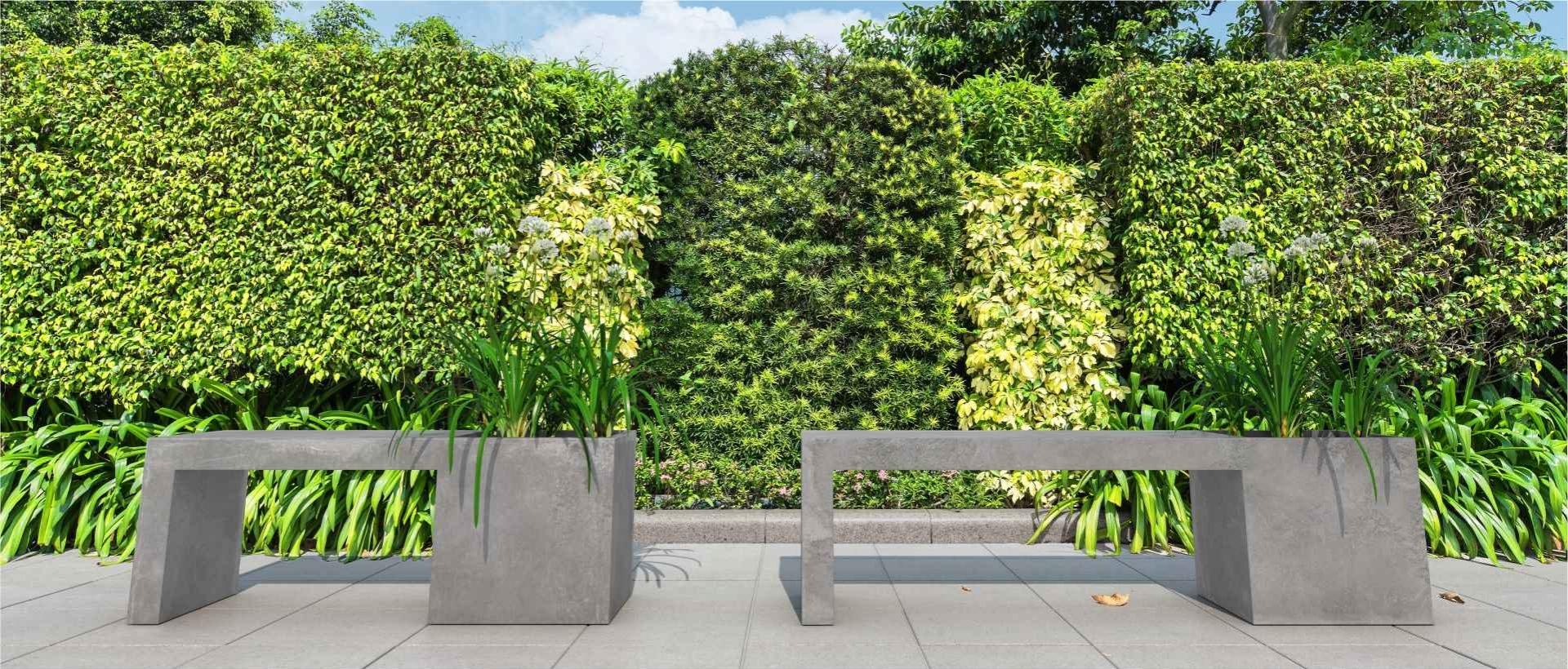 Bench-planter Regular, Cube slabs, Modern Line