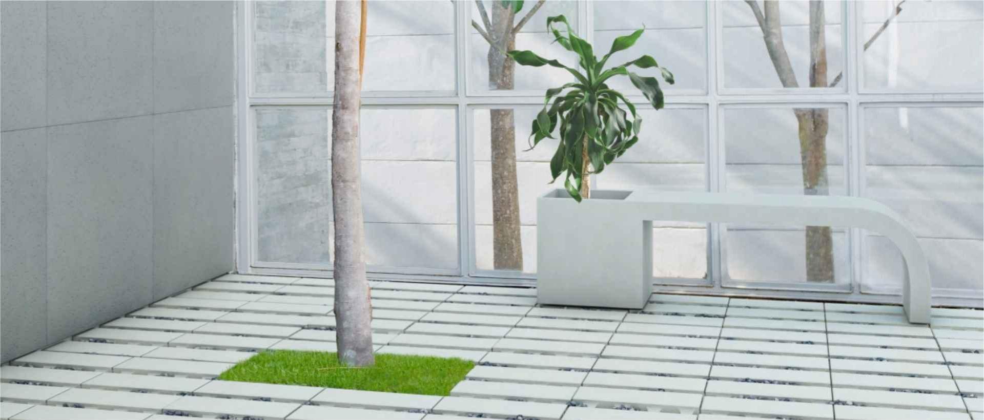 Bench-planter Harmony, ecoSolid slabs, Modern Line
